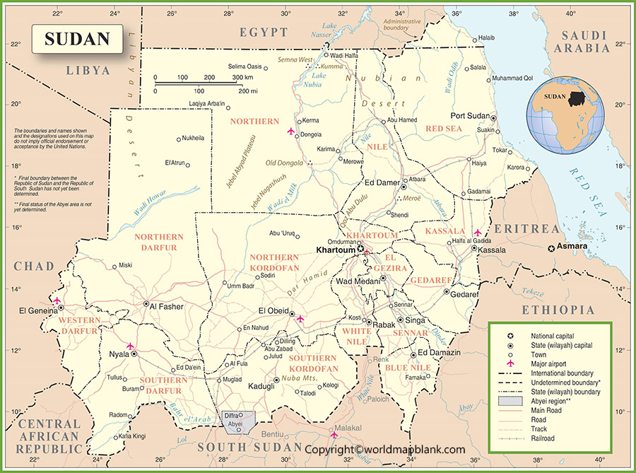 Labeled Map of Sudan