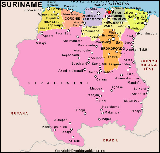 Labeled Map of Suriname