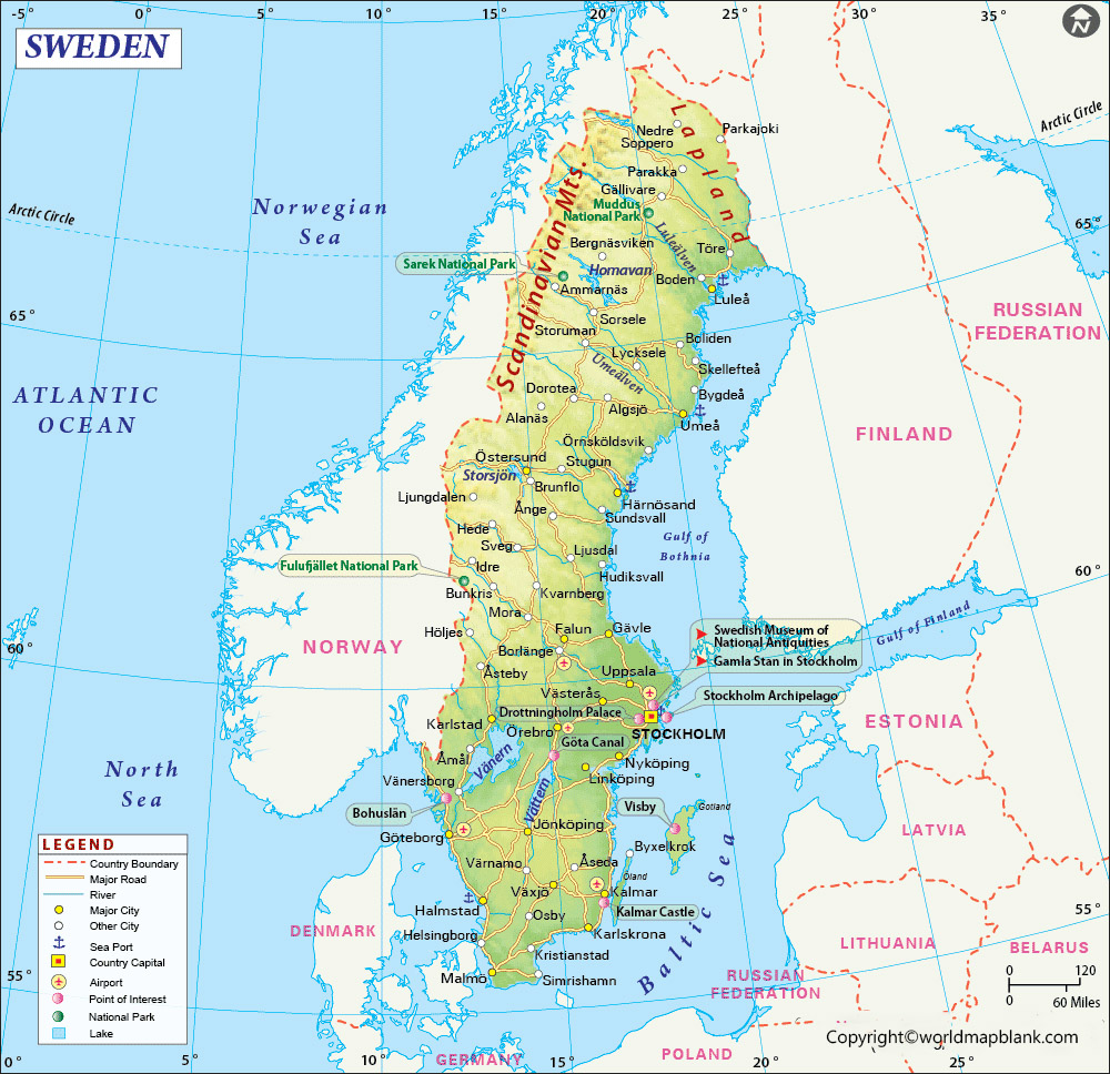 Labeled Map of Sweden