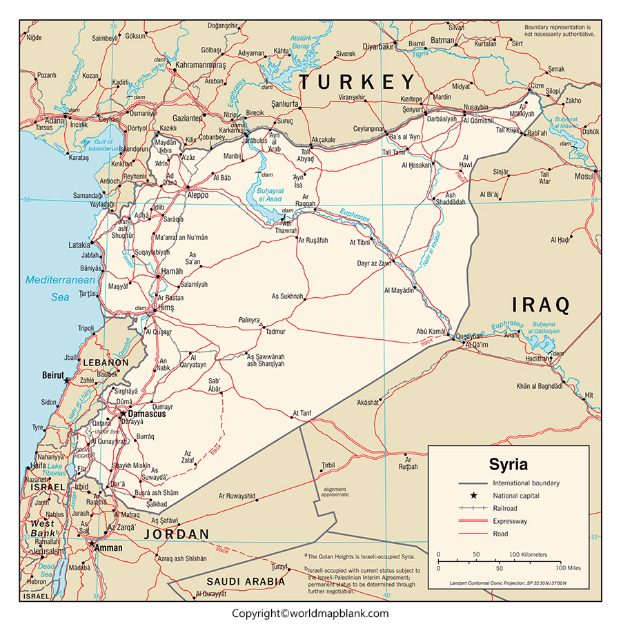 Labeled Map of Syria