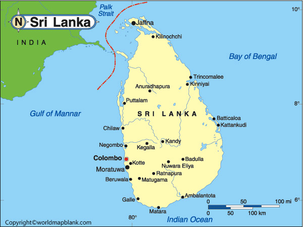 Labeled Map of Sri Lanka with States