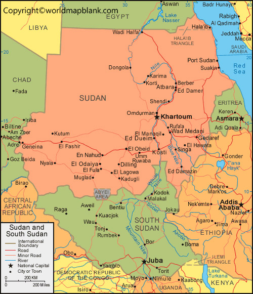 Labeled Sudan Map with Capital