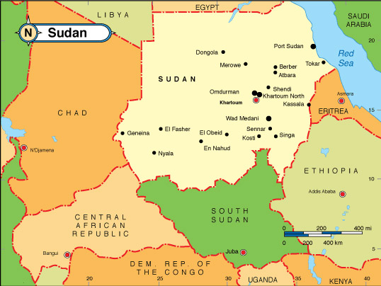 Labeled Map of Sudan with States