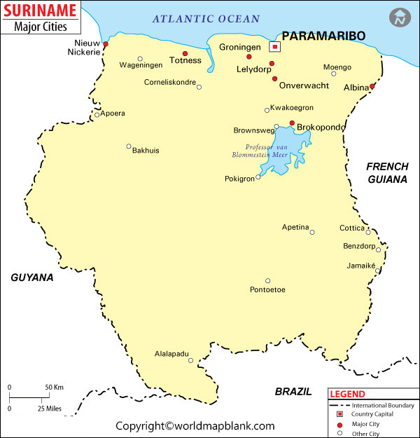 Labeled Suriname Map with Capitals