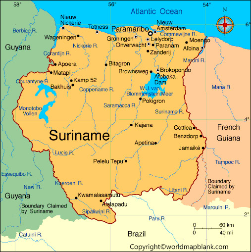 Labeled Map of Suriname with States