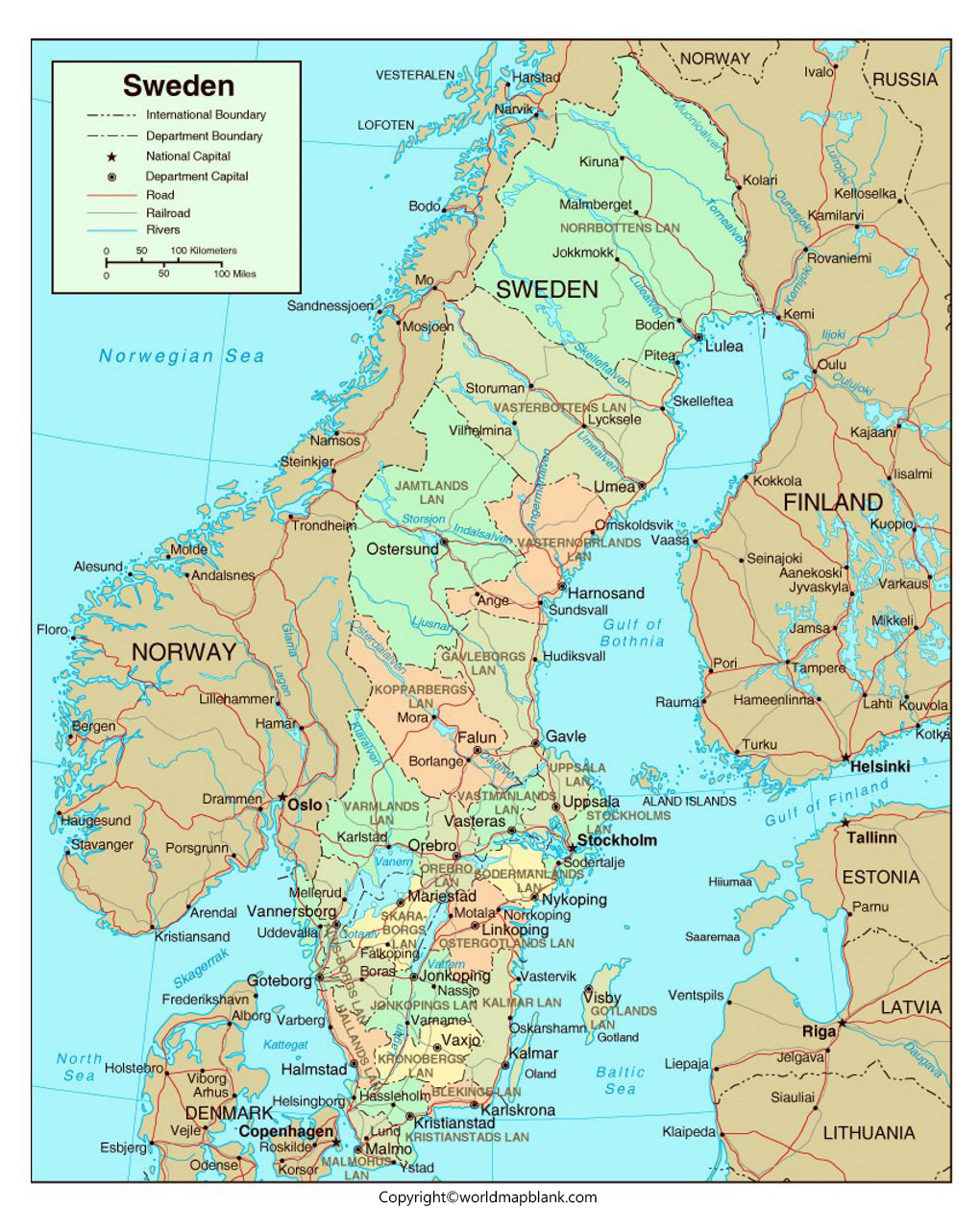Labeled Sweden Map with Capitals