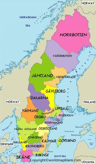 Labeled Map of Sweden with States