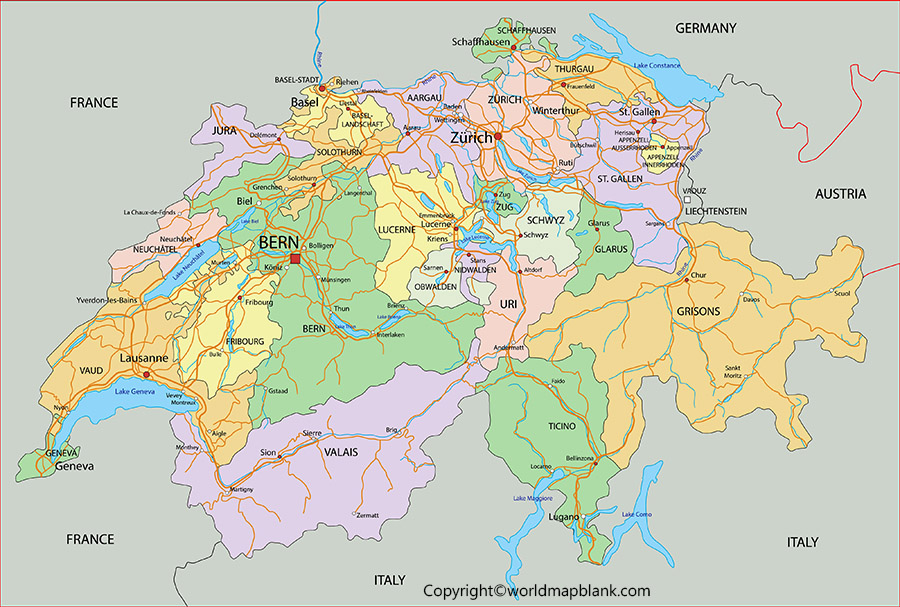 Labeled Map of Switzerland with States