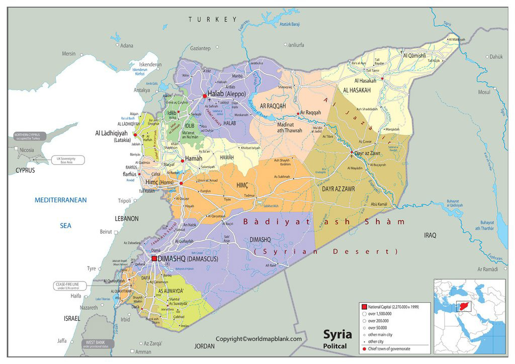 Labeled Syria Map with Capital