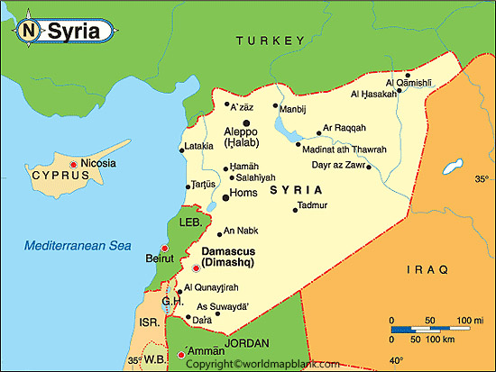Labeled Map of Syria with States