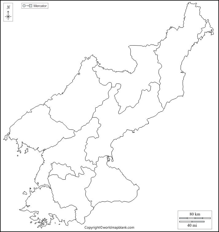 Blank Map of North Korea - Outline