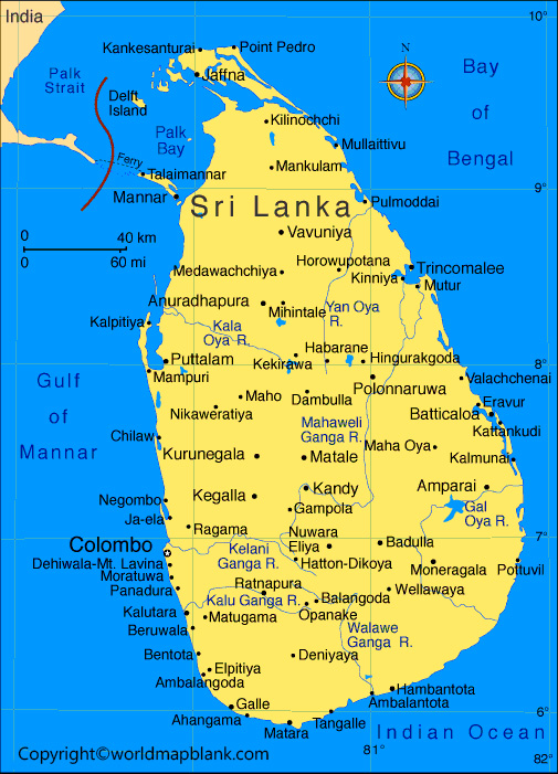 Sri Lanka Map with Cities Labeled
