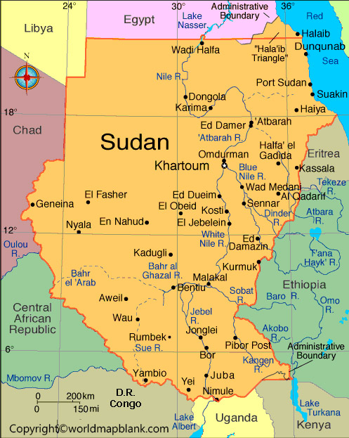 Sudan Map with Cities Labeled