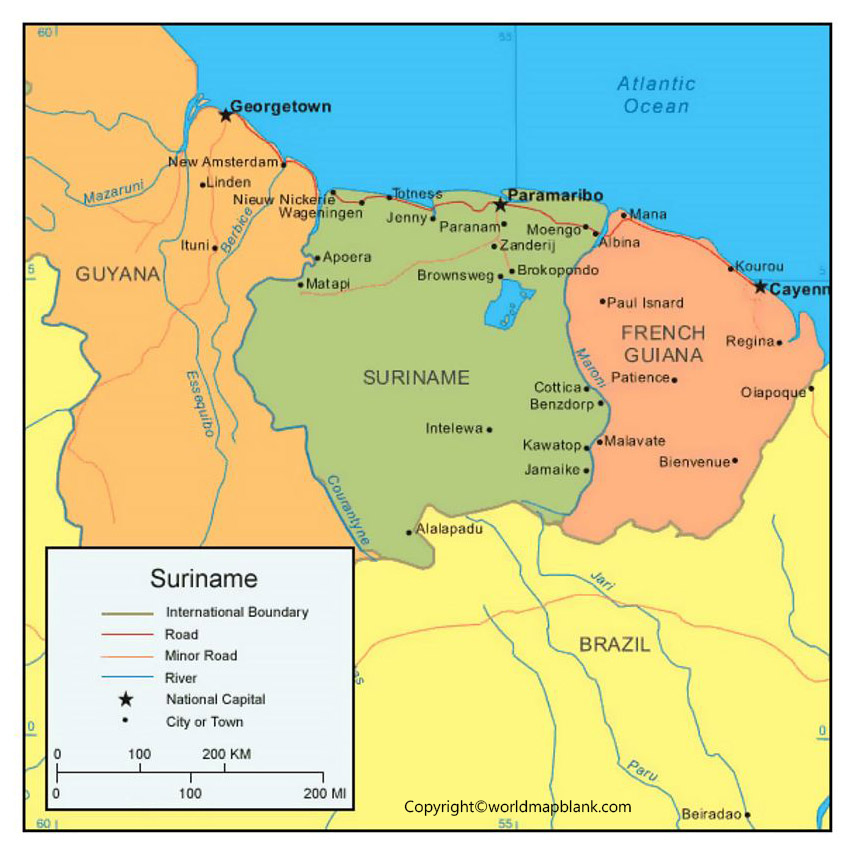 Suriname Map with Cities Labeled