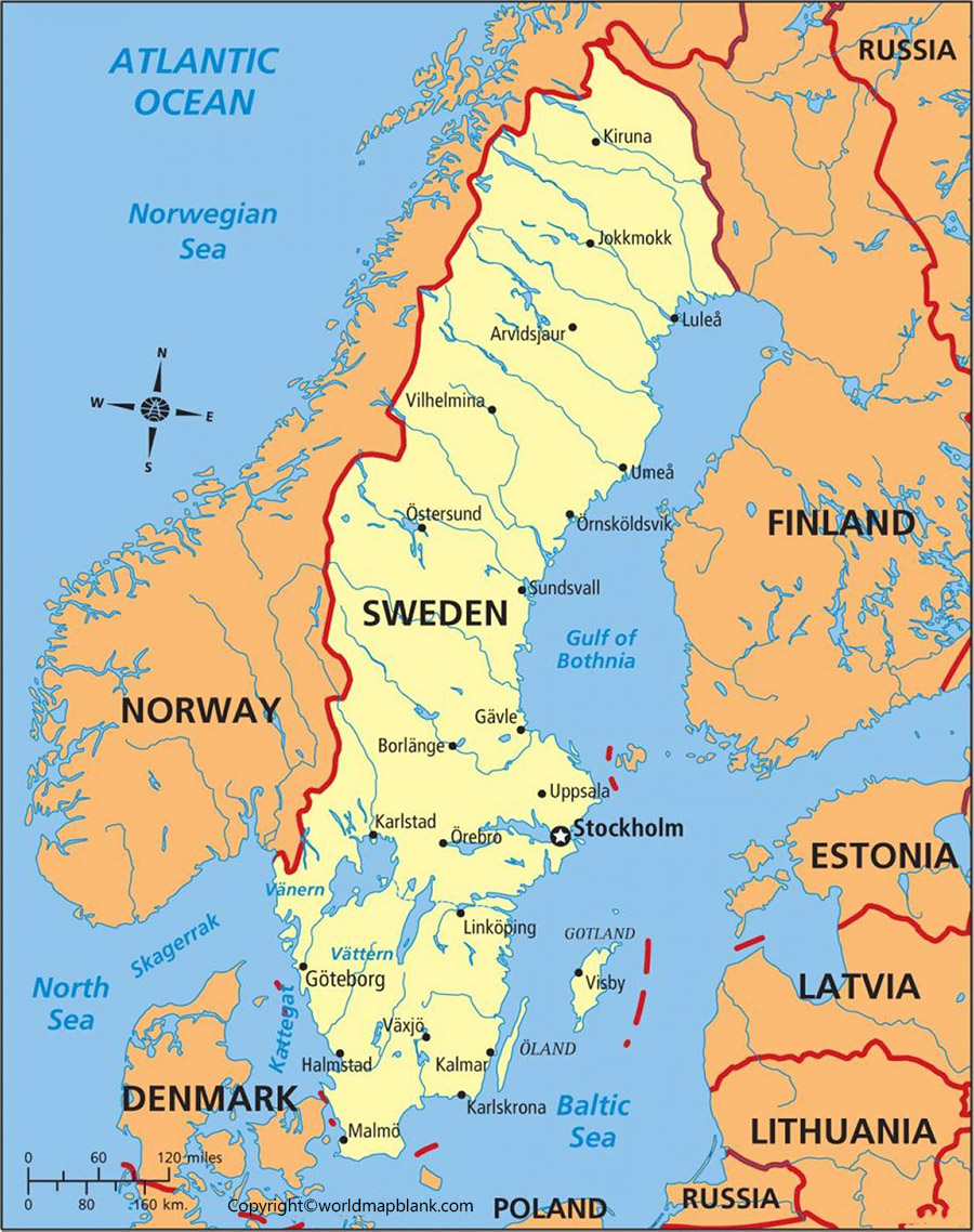 Sweden Map with Cities Labeled