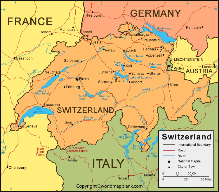 Switzerland Map With Cities Labeled