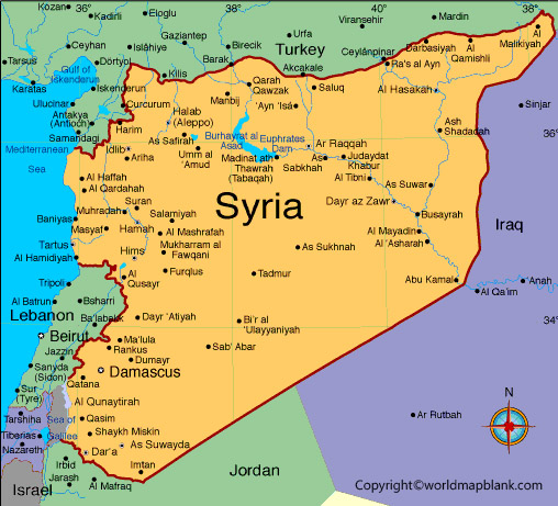 Labeled Map of Syria with Cities