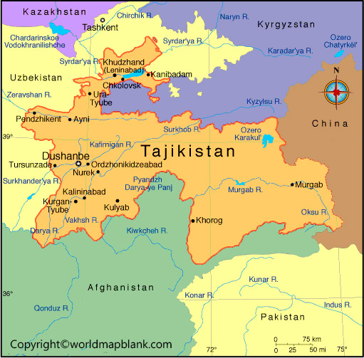 Tajikistan Map with Cities Labeled