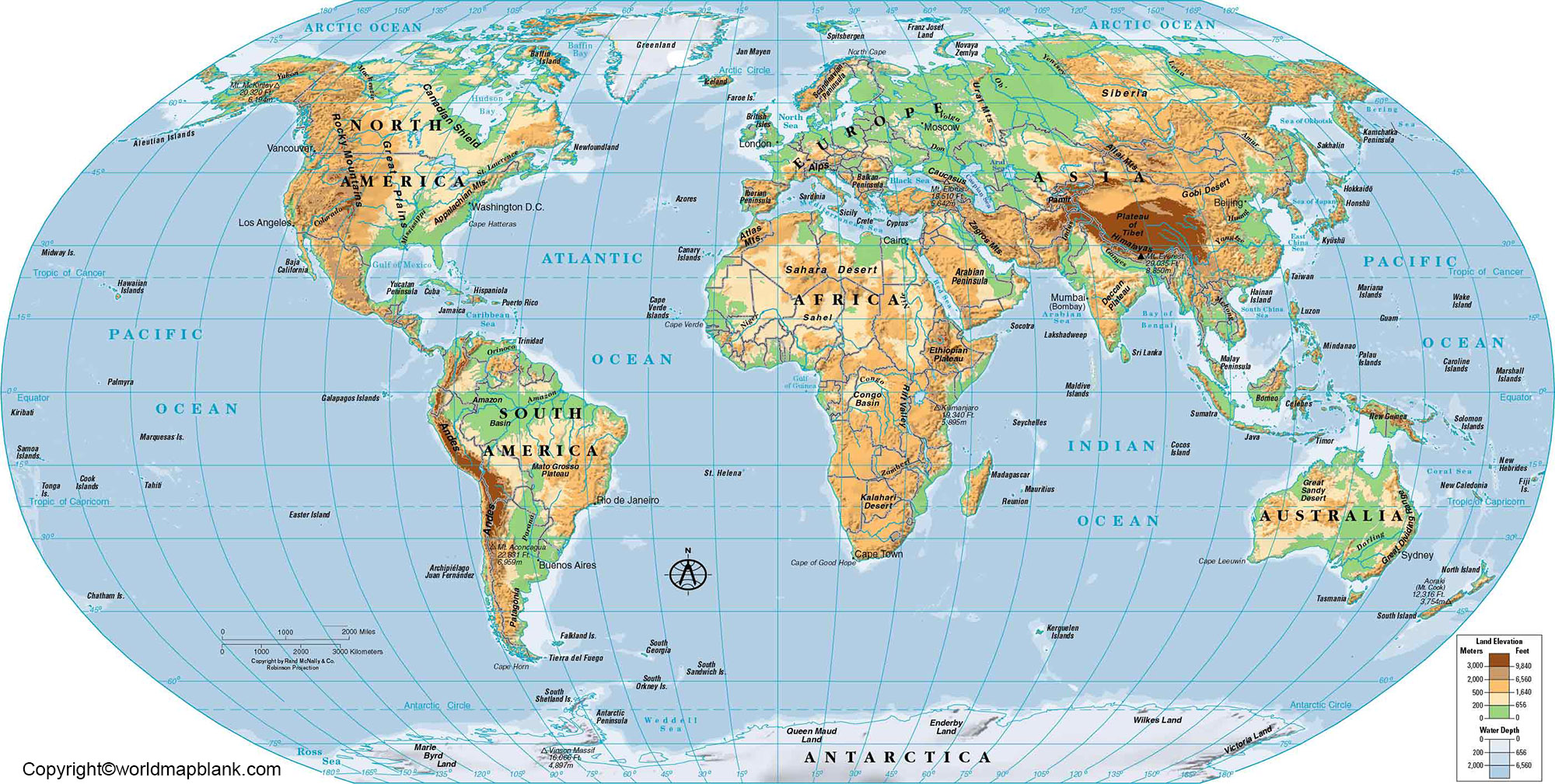 World Geographical Map with Coordinates
