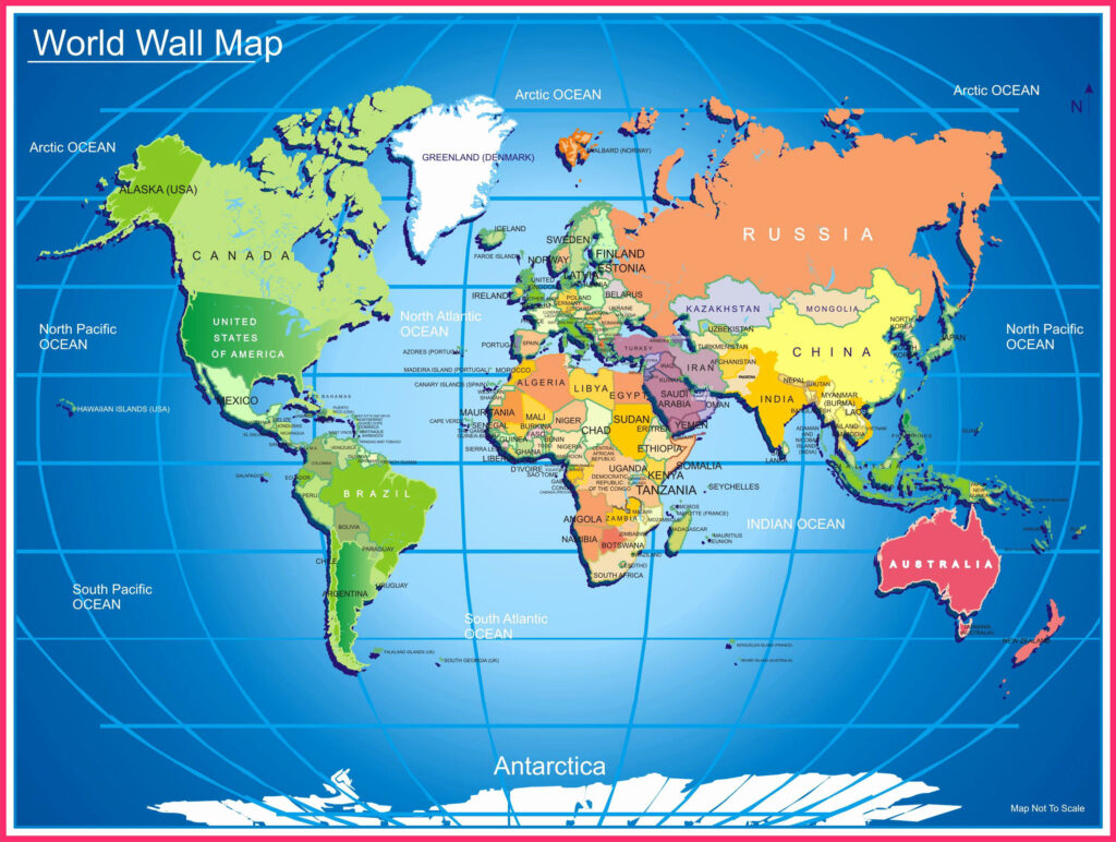 World Map Wallpaper with Border