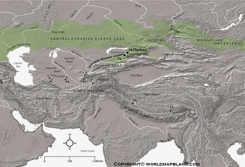 Printable Asia Mountains Map Labeled