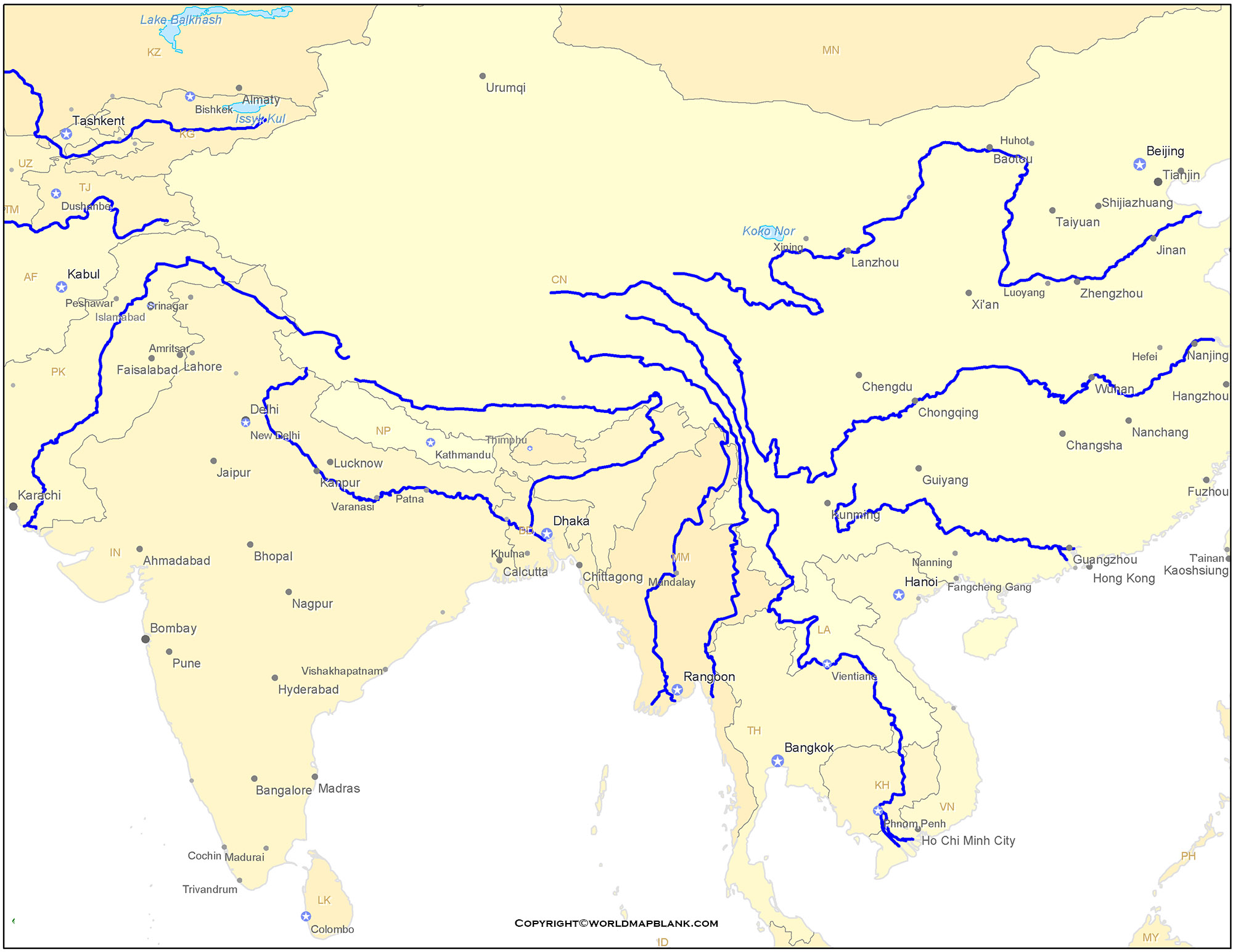 Map of Asia Rivers