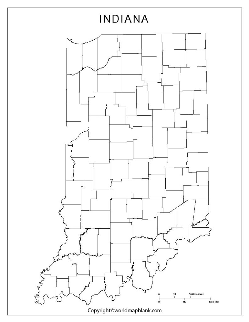 Blank Map of Indiana - Outline