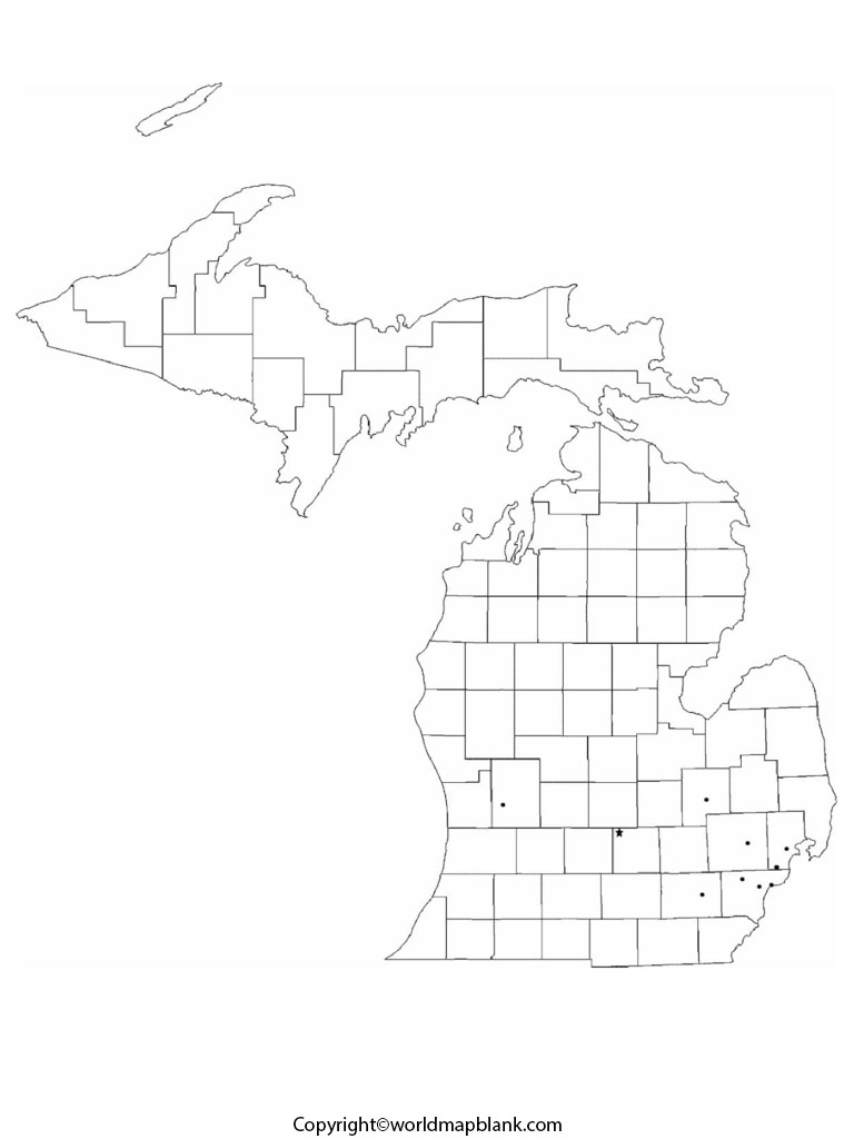 Blank Map of Michigan - Outline