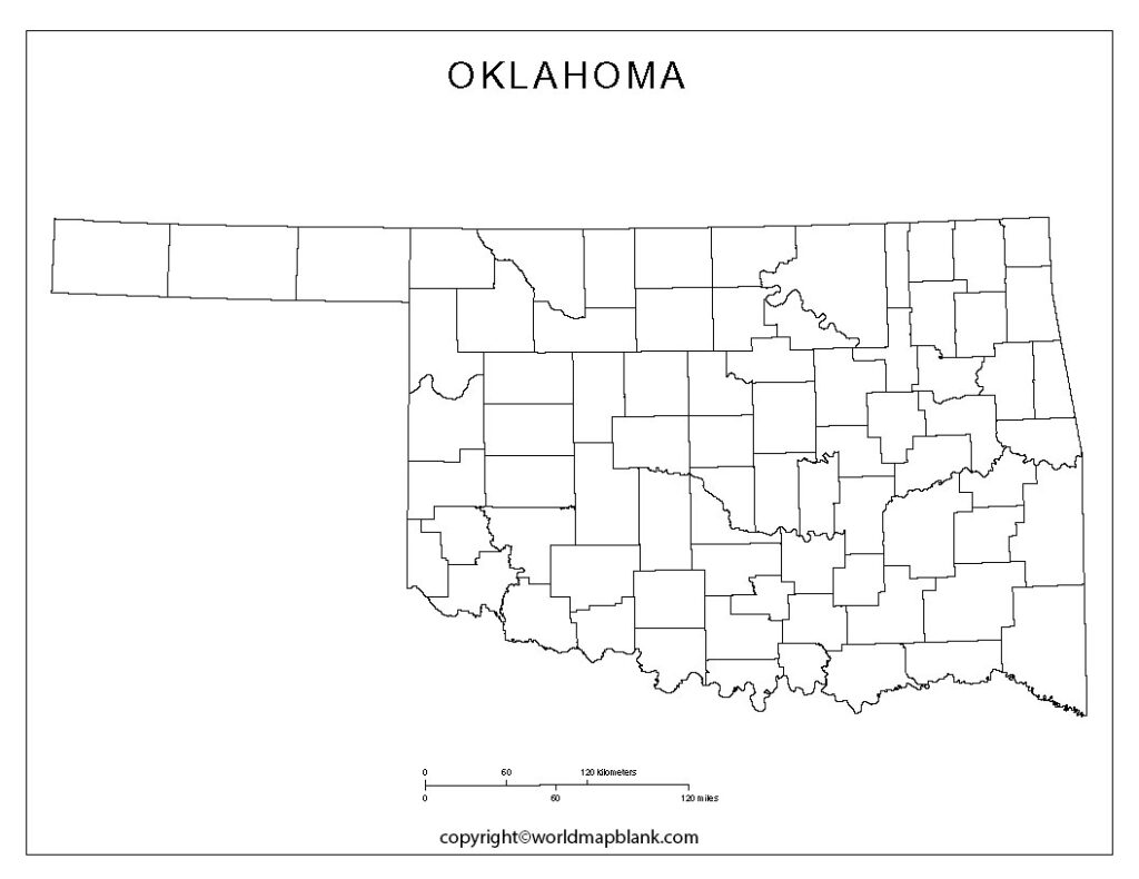 Blank Map of Oklahoma - Outline