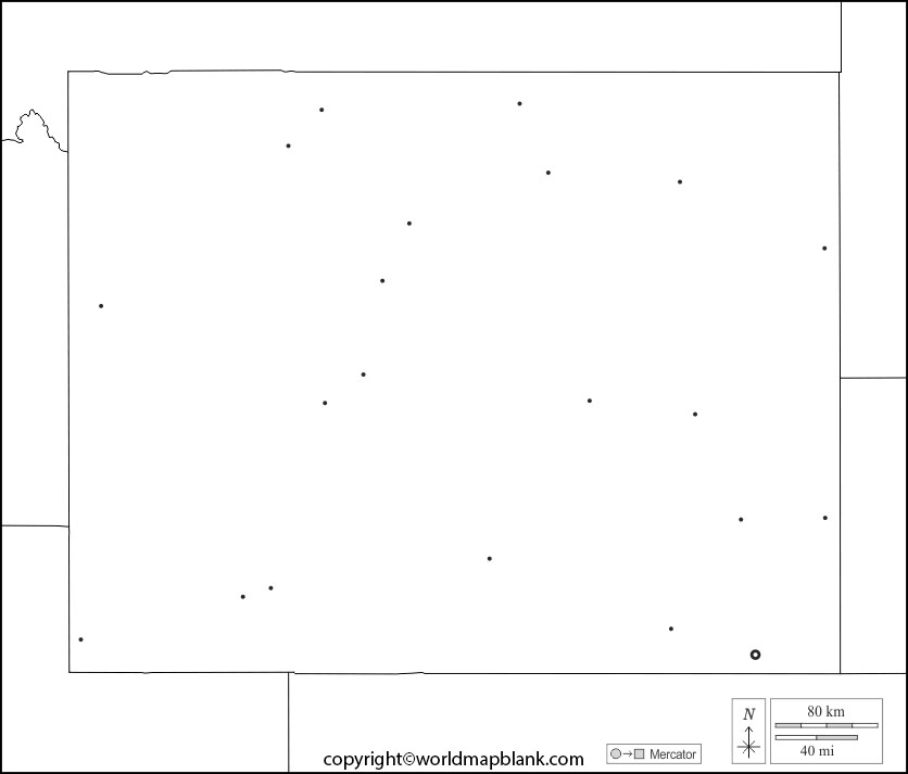 Blank Map of Wyoming - Outline