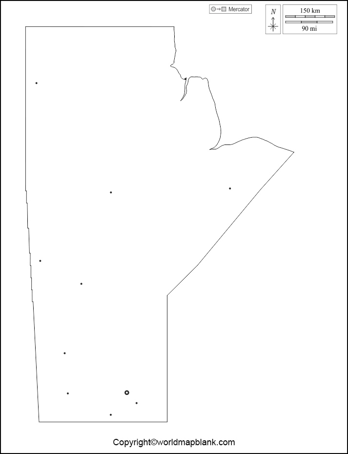 Blank Map of Manitoba - Outline