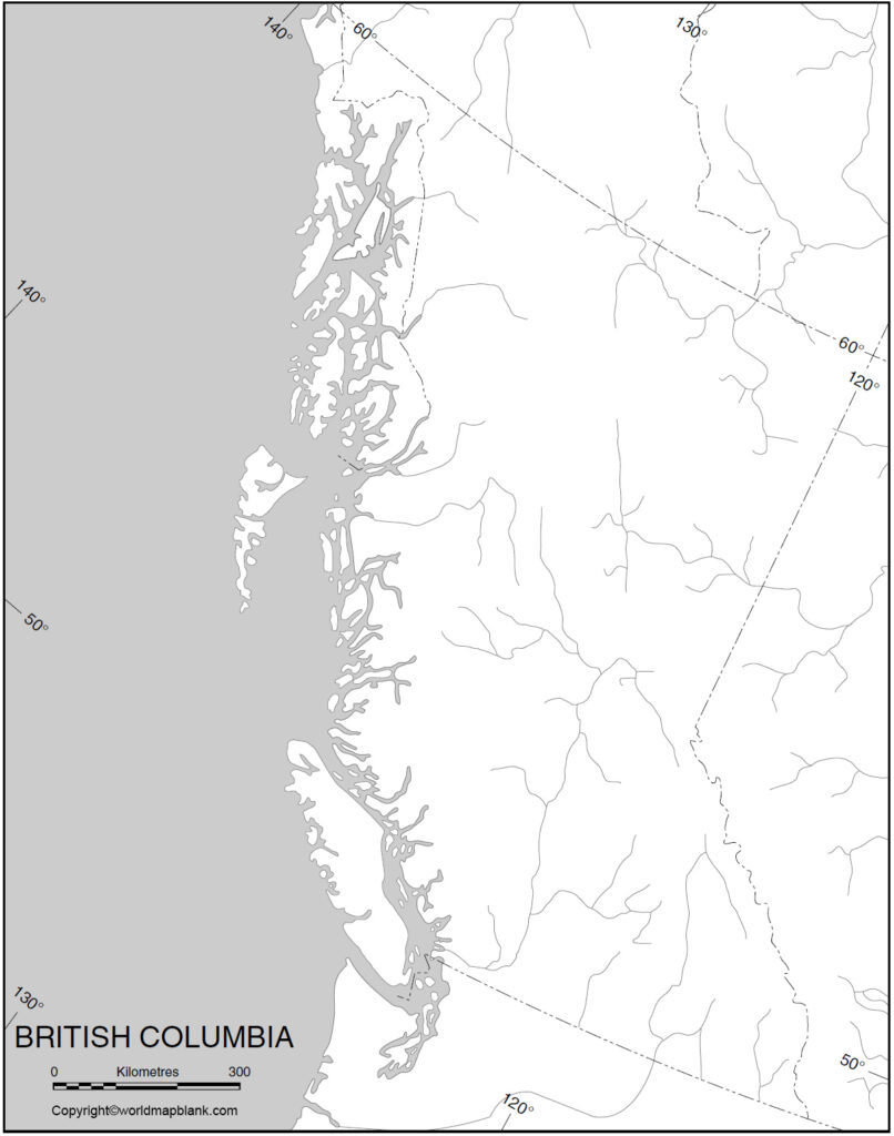 Blank Map of British Columbia for Practice Worksheet