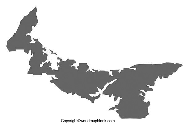 Blank Map of Prince Edward Island for Practice Worksheet