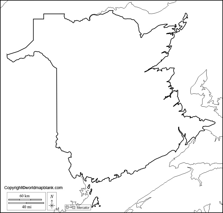 Blank Map of New Brunswick - Outline