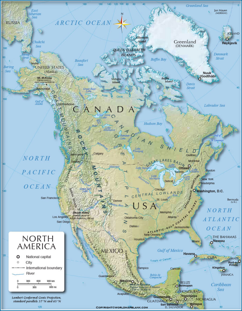 Map of North America Physical