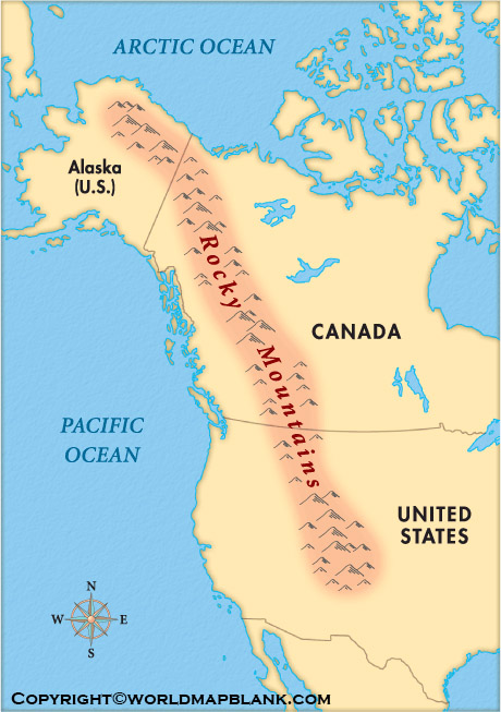 Map of North America Mountains Physical