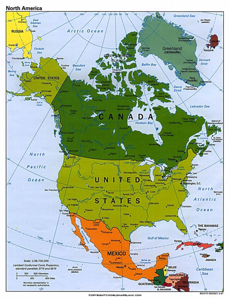 Map of North America Political