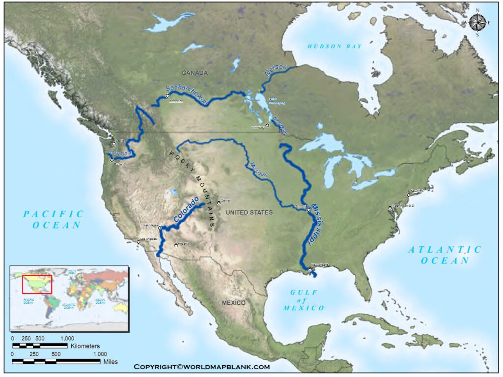Map of North America Rivers Labeled