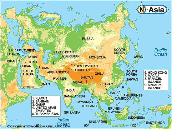 Physical Map of Asia
