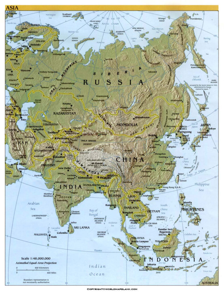 Map of Asia Physical