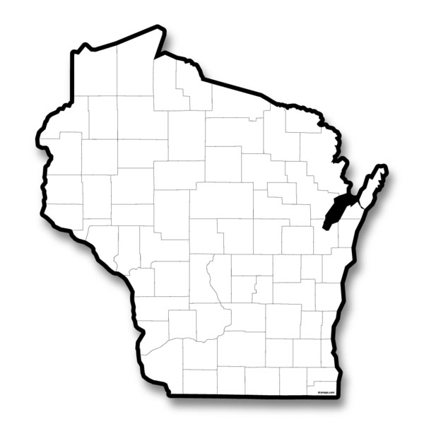 Blank Map of Wisconsin - Outline