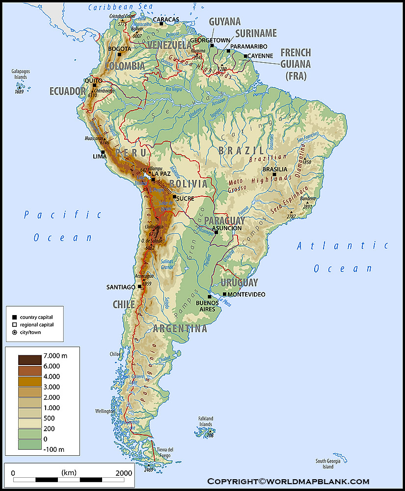 Map of South America Mountains