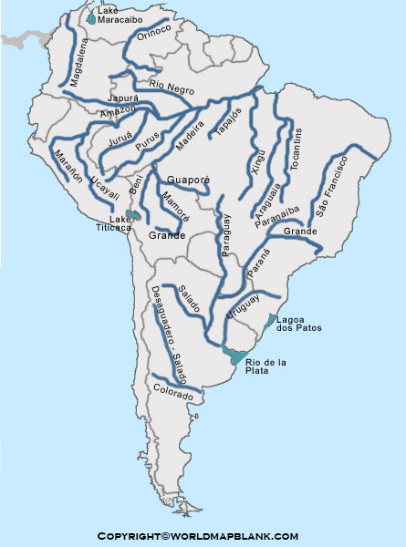 Map of South America Rivers Labeled