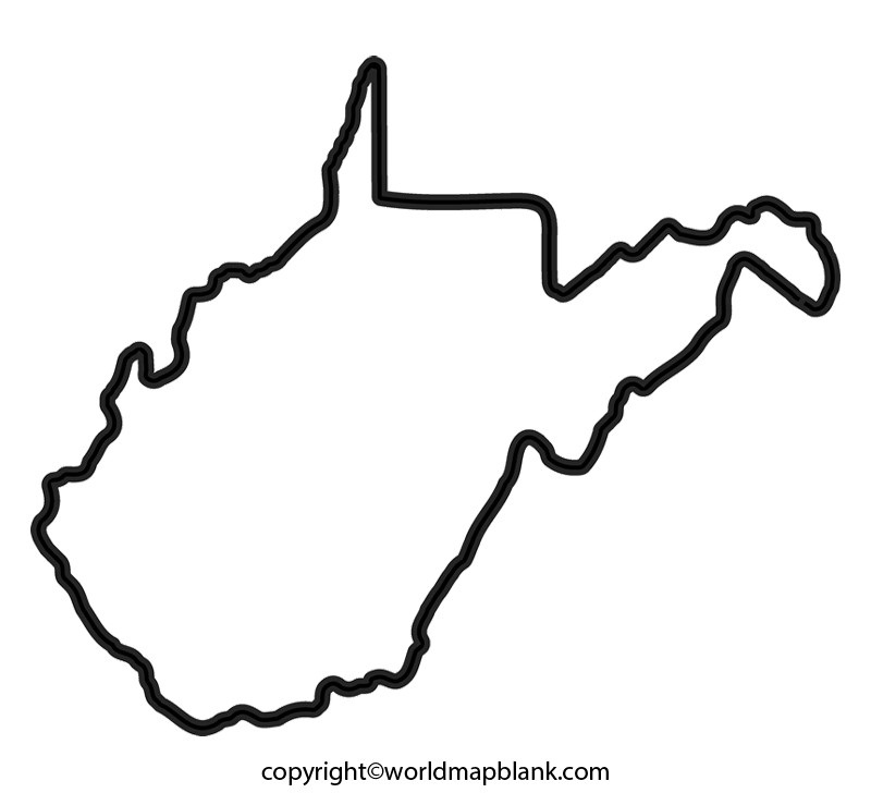 Transparent PNG Blank Map of West Virginia