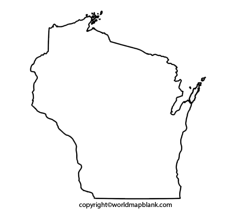 Transparent PNG Blank Map of Wisconsin