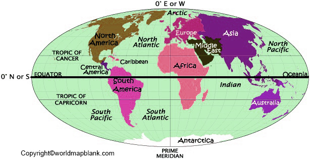 World Map with Hemispheres and Continents