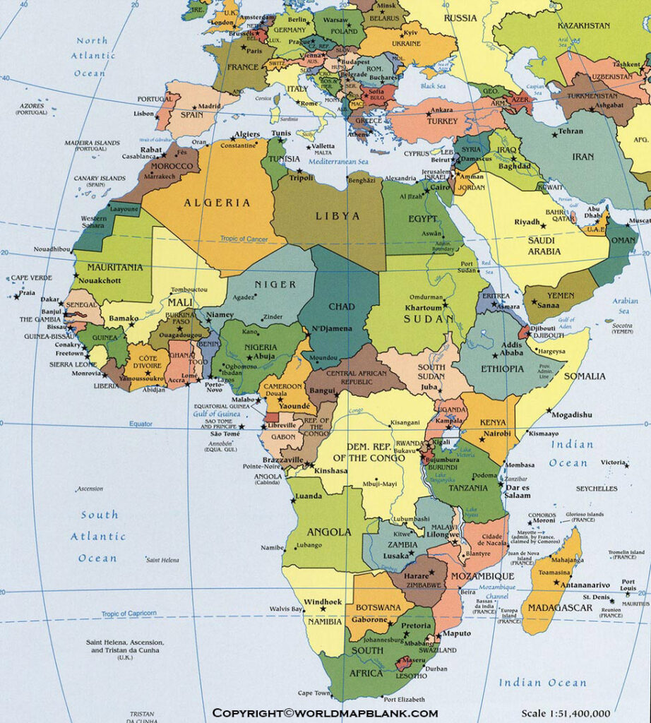 Map of Africa Political