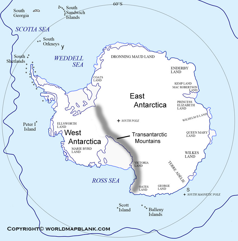 Printable Antarctica Mountains Map Labeled