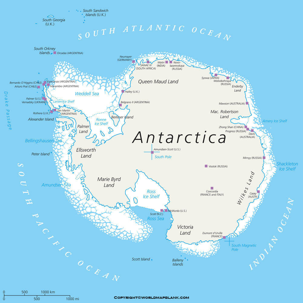 Antarctica Political Map Labeled
