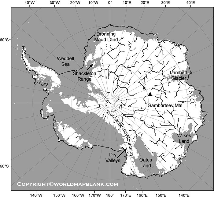 Map of Antarctica Rivers Labeled